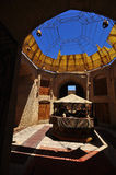 CARAVANSERAI IN IRAN. SHADOWS IN A CARAVAN SERAI IN IRANIAN DESERT ON THE FORMER SILKROAD Royalty Free Stock Photography