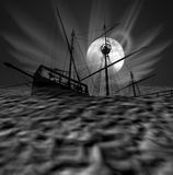 Caravel. Composition with a silhouette of an old Portuguese caravel in a full moon night Royalty Free Stock Photo