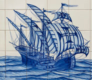 Caravel. Old hand painted art tile (azulejo) representation of Portuguese discoveries Stock Image
