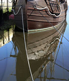 Caravel. Water reflection of an old Portuguese caravel replica from the discoveries time Royalty Free Stock Image