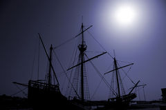 Caravel. Silhouette of an old Portuguese caravel replica Royalty Free Stock Images