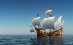 Caravel In The Blue Sea. 3D Scene Royalty Free Stock Photos