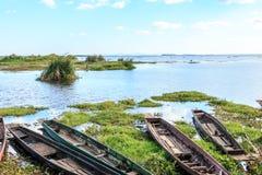 Caravel, canoa o nave del aterrizaje del muelle Foto de archivo libre de regalías