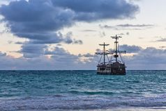 Caravel. Near the shore in Punta Cana. Dominican Royalty Free Stock Image