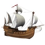 Caravel. 3D Model Of Sailing Ship Royalty Free Stock Images