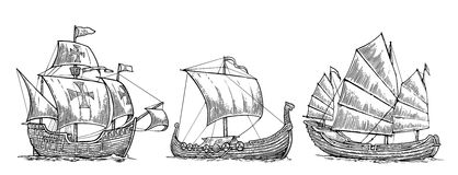 Caravel, drakkar, junk. Set sailing ships floating on the sea waves.  Royalty Free Stock Images