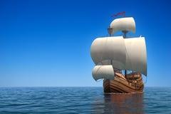 Caravel i havet royaltyfri illustrationer