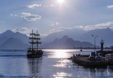 Caravel lifts sails Stock Photo