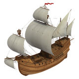 Caravel Over White Background. Caravel With White Sails. 3D Model Over White Background Royalty Free Stock Photo