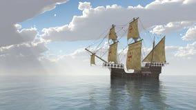 Caravel portugués stock de ilustración