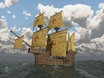 Caravel portugués del siglo XV stock de ilustración