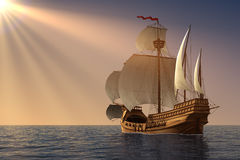 Caravel In Rays Of the Sun. 3D Illustration Royalty Free Stock Photo