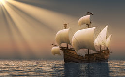 Caravel In Rays Of the Sun. 3D Scene Stock Photo