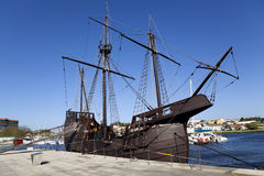 Caravel. Replica of Caravela Portuguesa in Vila do Conde Royalty Free Stock Photo
