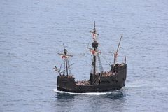 Caravel. Sightseeing Caravel sailing on the Atlantic Ocean royalty free stock image