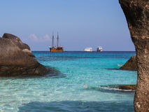 Caravel on the Similan island, Thailand Royalty Free Stock Photos