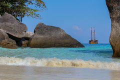 Caravel on the Similan island, Thailand Stock Photos