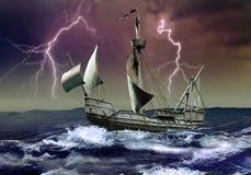 Caravel sob a tempestade ilustração royalty free