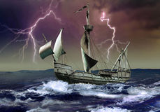 Caravel under the storm royalty free illustration