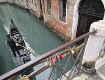 Caravel. A caravel in Venice, Veneto. You can see the love padlocks Stock Image
