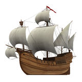 Caravel. On The White Background. 3D Model Stock Image