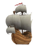 Caravel With White Sails Stock Photo