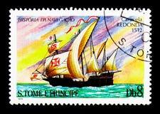 Caravella Redonda (1512), serie delle navi di navigazione, circa 1979 Immagini Stock Libere da Diritti