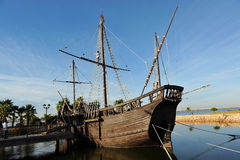 Caravels of Christopher Columbus, La Rabida, Huelva province, Spain. Reproduction real size of the old Christopher Columbus caravels when he discovered America stock photography