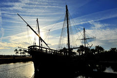The caravels of Christopher Columbus, La Rabida, Huelva province, Spain. Reproduction real size of the old Christopher Columbus caravels when he discovered royalty free stock photo