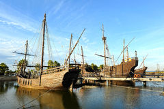 Caravels of Christopher Columbus, La Rabida, Huelva province, Spain. Reproduction real size of the old Christopher Columbus caravels when he discovered America royalty free stock images