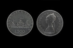 Caravels silver coins Royalty Free Stock Photos