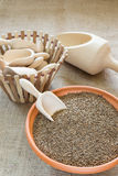 Caraway. In ceramic bowl for sale at the spices store stock photo