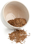 Caraway seeds in bowl Stock Photo