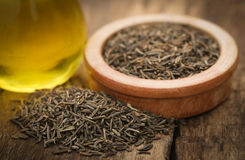 Caraway seeds with essential oil Stock Photos