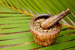 Caraway Seeds Spice in Tradiational Wooden Mortar Stock Photos
