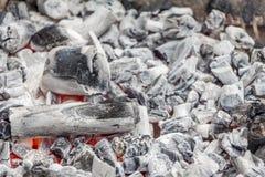 Carbón blanco listo para cocinar en una parrilla de la barbacoa Foto de archivo