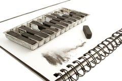 Carbón de leña de gráfico negro Imagenes de archivo