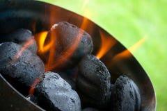 Carbón de leña en el fuego Foto de archivo