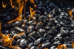 Carbón de leña en la parrilla con las llamas Imagenes de archivo