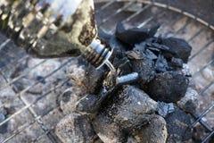 Carbón de leña para la barbacoa de la salchicha Imagen de archivo libre de regalías