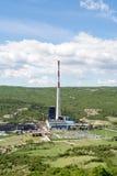 Carbón del combustible fósil que quema la planta de la corriente eléctrica Fotos de archivo libres de regalías