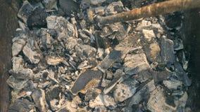 Carbón que quema en un Bbq de la parrilla del brasero almacen de metraje de vídeo