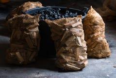Carbón y madera Imagen de archivo