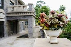 Carbaso flowers on balustrade of balcony Royalty Free Stock Photography