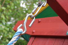 Carbiner and hook. For a swing in a outdoor swing set Royalty Free Stock Photography