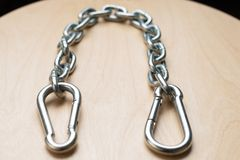 Carbiners and Chain Stock Photo