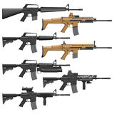Carbines. Layered vector illutration of different American Carbines Stock Image