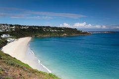 Carbis Bay in Cornwall. Carbis Bay in St Ives Cornwall looking towards the town from the coastal path Royalty Free Stock Photos