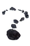 Carbón aislado, pepitas del carbón - signo de interrogación Imagen de archivo