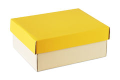 Carboard box. With yellow cover isolated on white Royalty Free Stock Photos